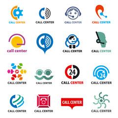 big set of vector logos call center