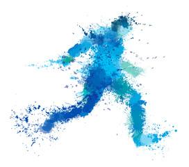 Vector running man, splash artwork.
