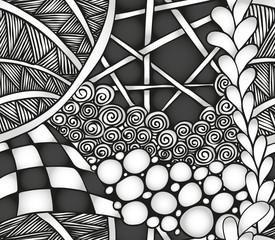 Abstract monochrome zentangle seamless pattern