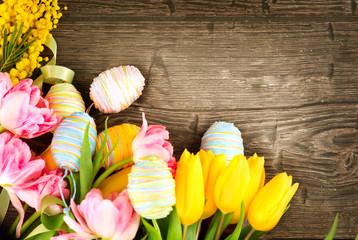 Fotoväggar - Easter background. Beautiful Easter holiday backdrop frame