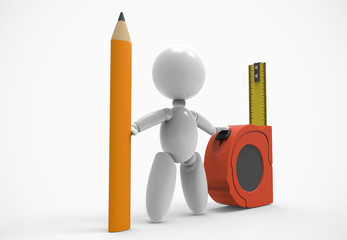 new 3D people shows and use tools - pencil and measuring tape