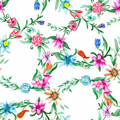 Spring watercolor floral pattern