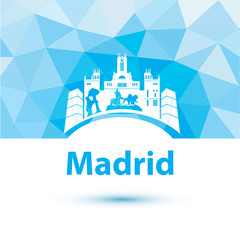 Silhouette of Madrid. City skyline on polygonal background