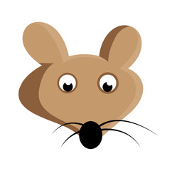 Scared Mouse Face Vector