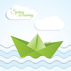 Origami boat icon on spring background with clouds and waves .