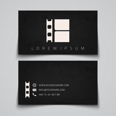 Business card template. Film strip concept logo.