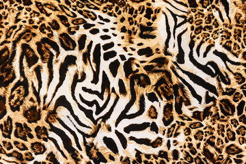 texture of print fabric stripes leopard