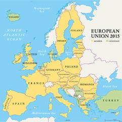 European Union Countries Political Map 2015