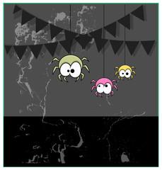 Funny Cartoon Halloween Spiders Grunge Background