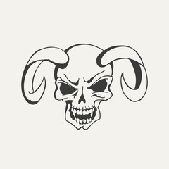 illustration of horns with human skull. Black and white style