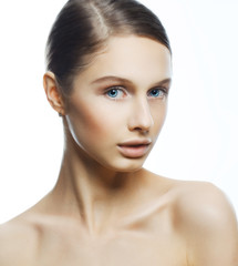 Fashion portrait of young beautiful woman with perfect make up.