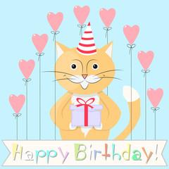 Foto auf Leinwand Babyzimmer cat happy birthday