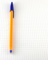 One pen on the checked paper