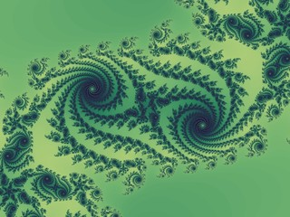 Double fractal spiral in a green colors