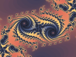 Double fractal spiral in a dark colors
