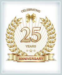 card with 25 anniversary with wheat spikelets