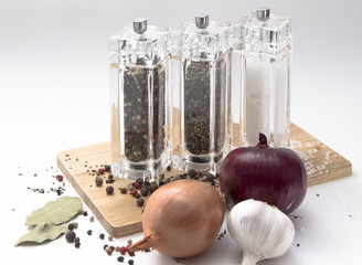 onion, glass mill with pepper, salt and spices on a wooden