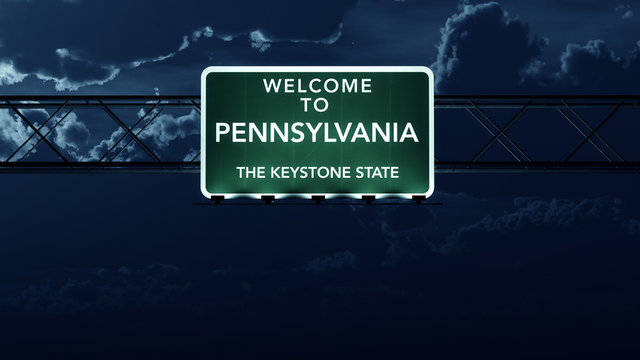 Pennsylvania USA State Welcome to Highway Road Sign at Night