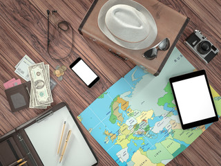 Travelling mockup business template.