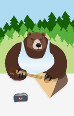 Russian bear animal playing on the musical instrument bear symbo