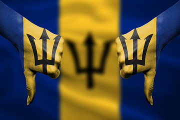 failure of Barbados - hands gesturing thumbs down in front of fl