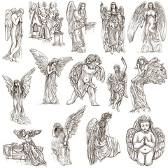 Angels - hand drawn full sized illustrations, originals