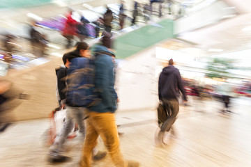People walking in the shopping mall