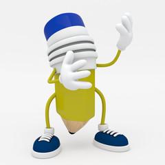 Cartoon Character of Pencil - 3D Render