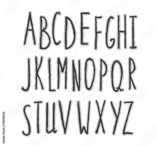 Hand drawn stylish font pencil sketch