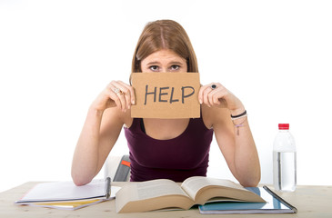 student girl studying for university exam asking for help
