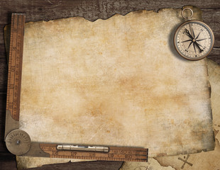 Blank treasure map background with, old compass and ruler