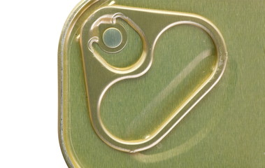 Close - up at metal ring pull on tin food can