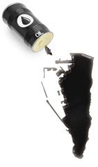 Glossy oil spill in the shape of Gibraltar (series)