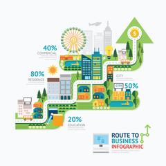 Infographic business arrow shape template design.route to succes