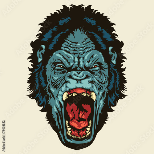 """""""Angry Gorilla Head"""" Stock image and royalty-free vector ..."""