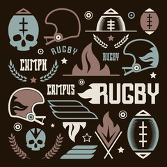 College rugby team badges