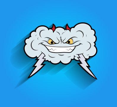 Laughing Retro Mascot Cloud Vector