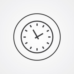Time outline symbol, dark on white background, logo template.