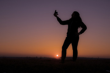 Sunset selfie girl