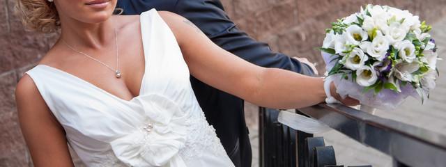 Beautiful unrecognizable bride and bridegroom