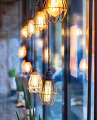 vintage light bulbs in interior