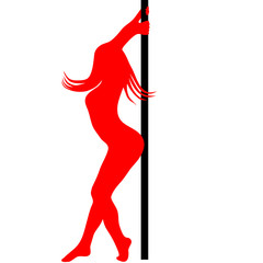 pole dancer silhouette. Vector illustration