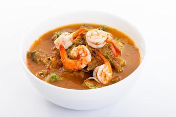 Shrimp and egg sour soup made of tamarind paste