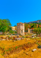 The famous ancient Tower of Winds in Athens Greece