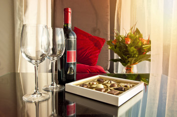 Wine and chocolates - romantic evening