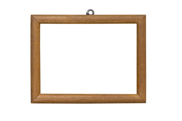 old wooden picture frame with mounting, isolated on white