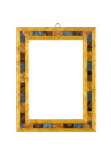 old picture frame with multicolored inlays, isolated on white