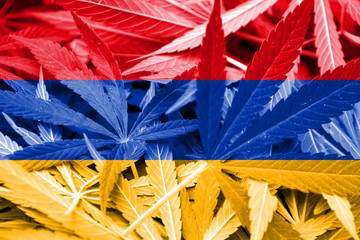 Armenia Flag on cannabis background. Drug policy.