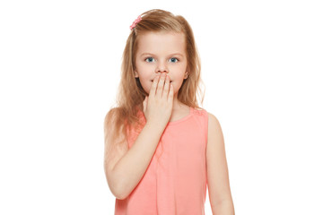 Little cute girl surprised closing her mouth, isolated