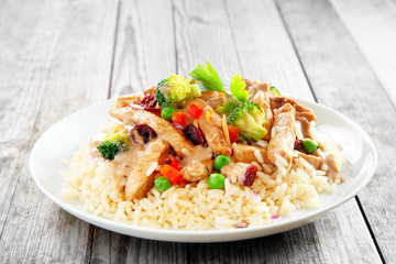 Gourmet Meat Slices with Veggies on Rice